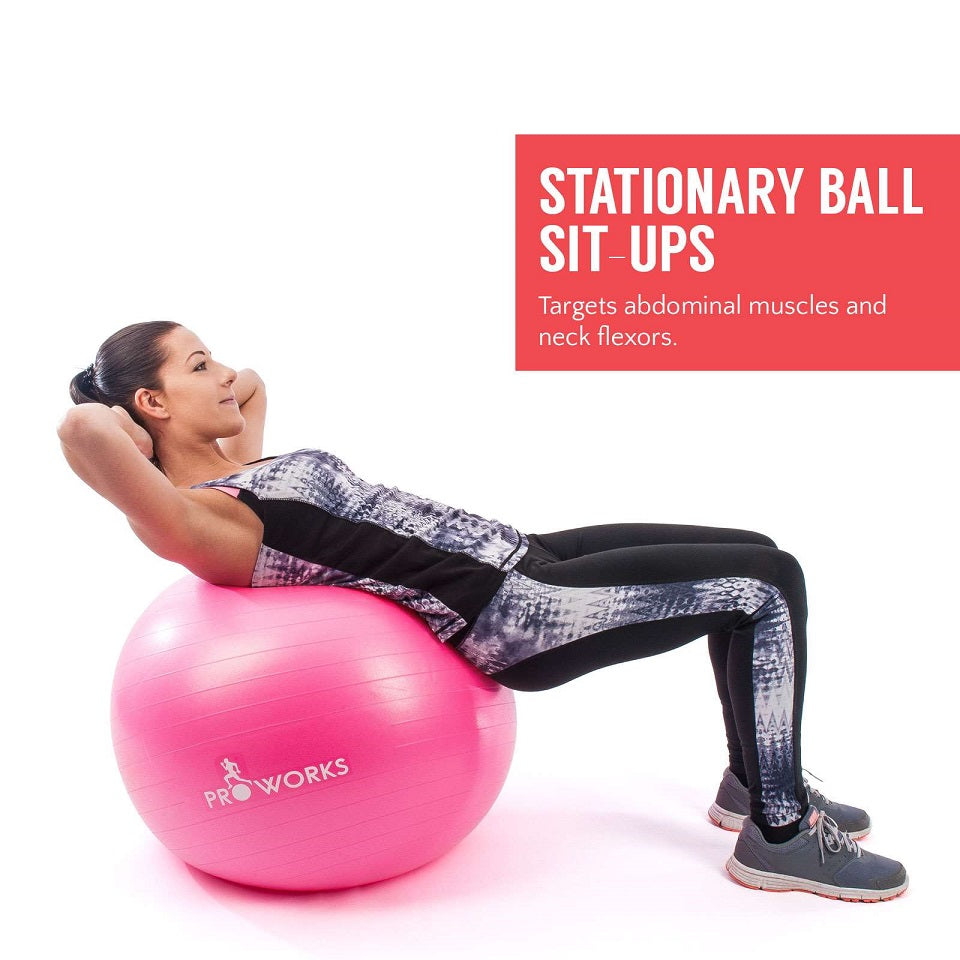 Proworks Anti-Burst Exercise Ball 65cm with Pump (Pink) Sit Ups