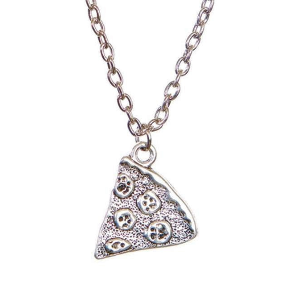 Pizza Slice Silver Alloy Friendship Pendant Necklace