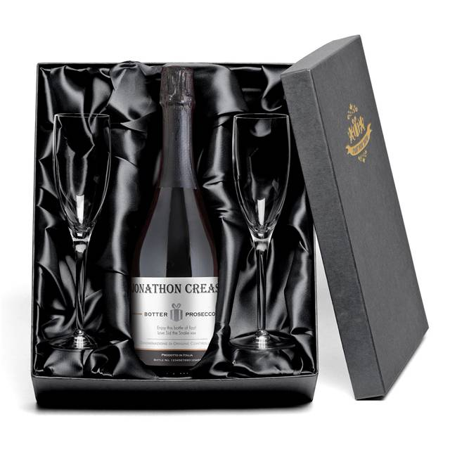 Personalised Contemporary Prosecco & Glass Flutes Gift Set