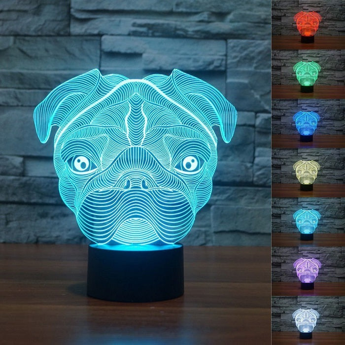 Pug Dog Optical Illusion 3D Lamp