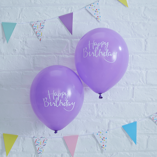 Purple Happy Birthday Balloons x 10