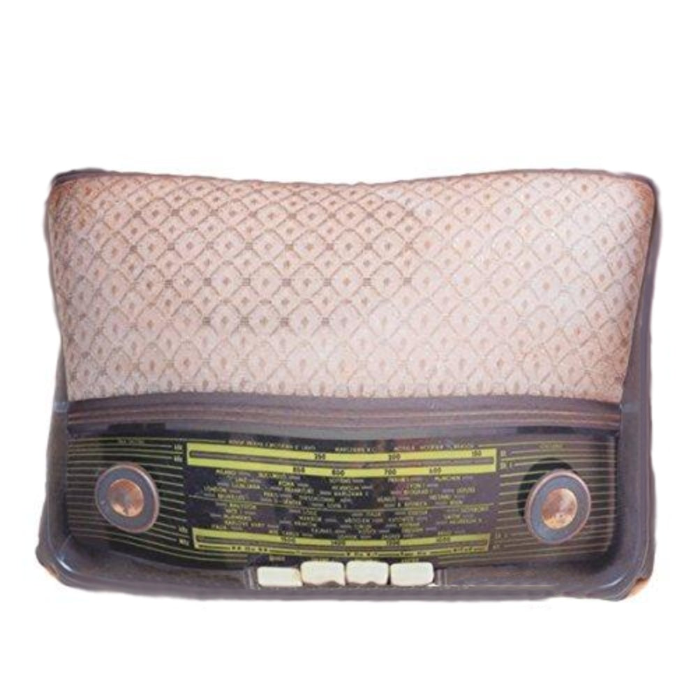 vintage old Retro Radio Cushion Brown