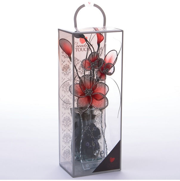 Red Mesh Net Diamante Flower Arrangement in Vase