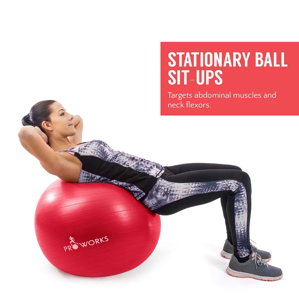 Proworks Anti-Burst Exercise Ball 65cm with Pump (Red) Sit Ups