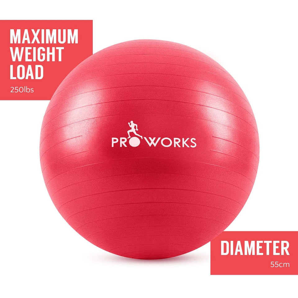 Proworks Anti-Burst Exercise Ball 55cm with Pump (Red)