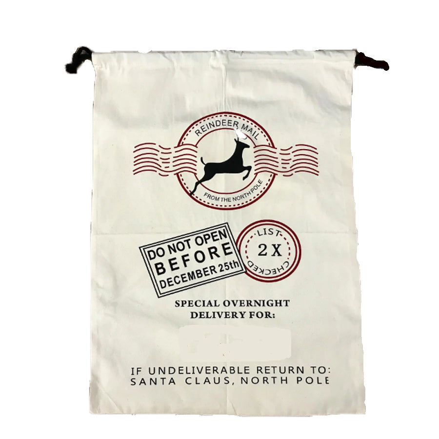 Reindeer Mail Cotton Santa Sack