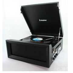 Steepletone 1960's/1970's Retro Style 3 Speed Record Player with Radio - Black