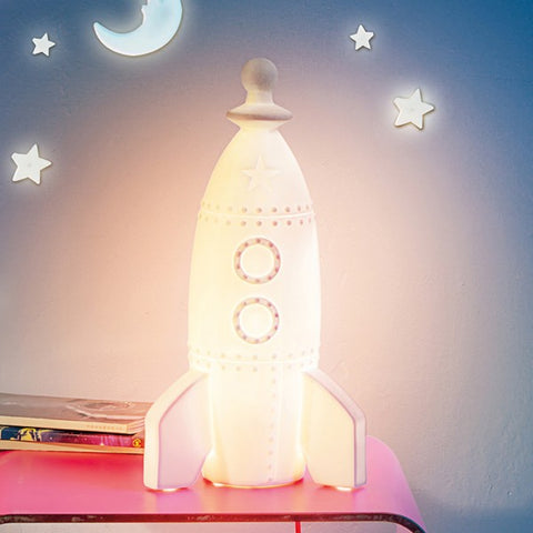 Moon Rocket Porcelain Bedside Lamp