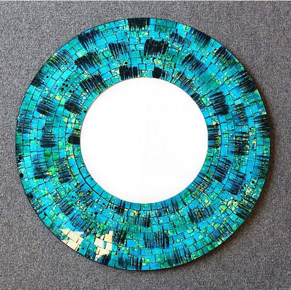 Round Blue Speckled Mosaic Mirror 60cm