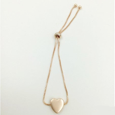 Rose Gold Heart Charm Friendship Bracelet