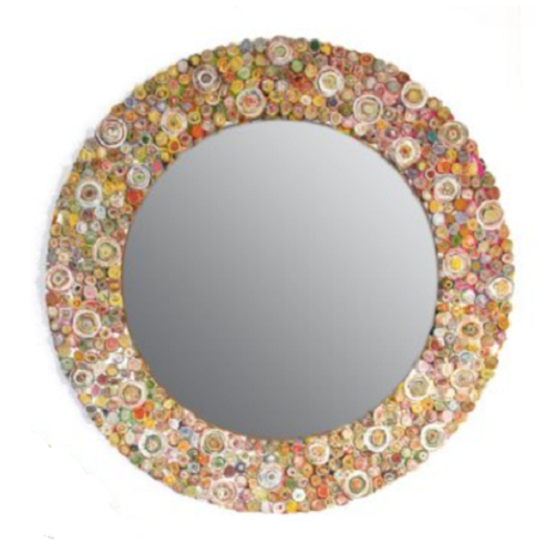 Multicolour Paper Large Round Wall Mirror by Stone The Crows