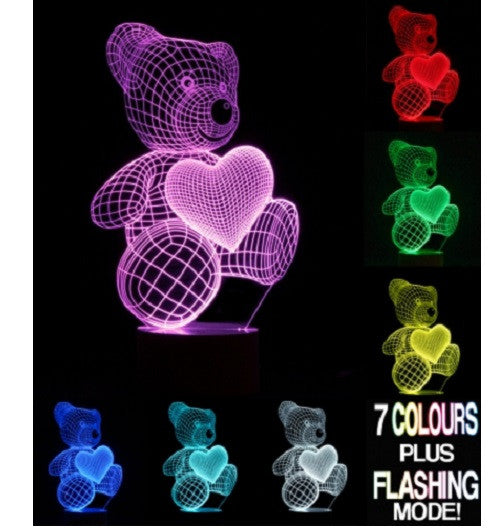 TEDDY BEAR Optical Illusion 3D LAMP Children's Kid's Bedroom Night Light