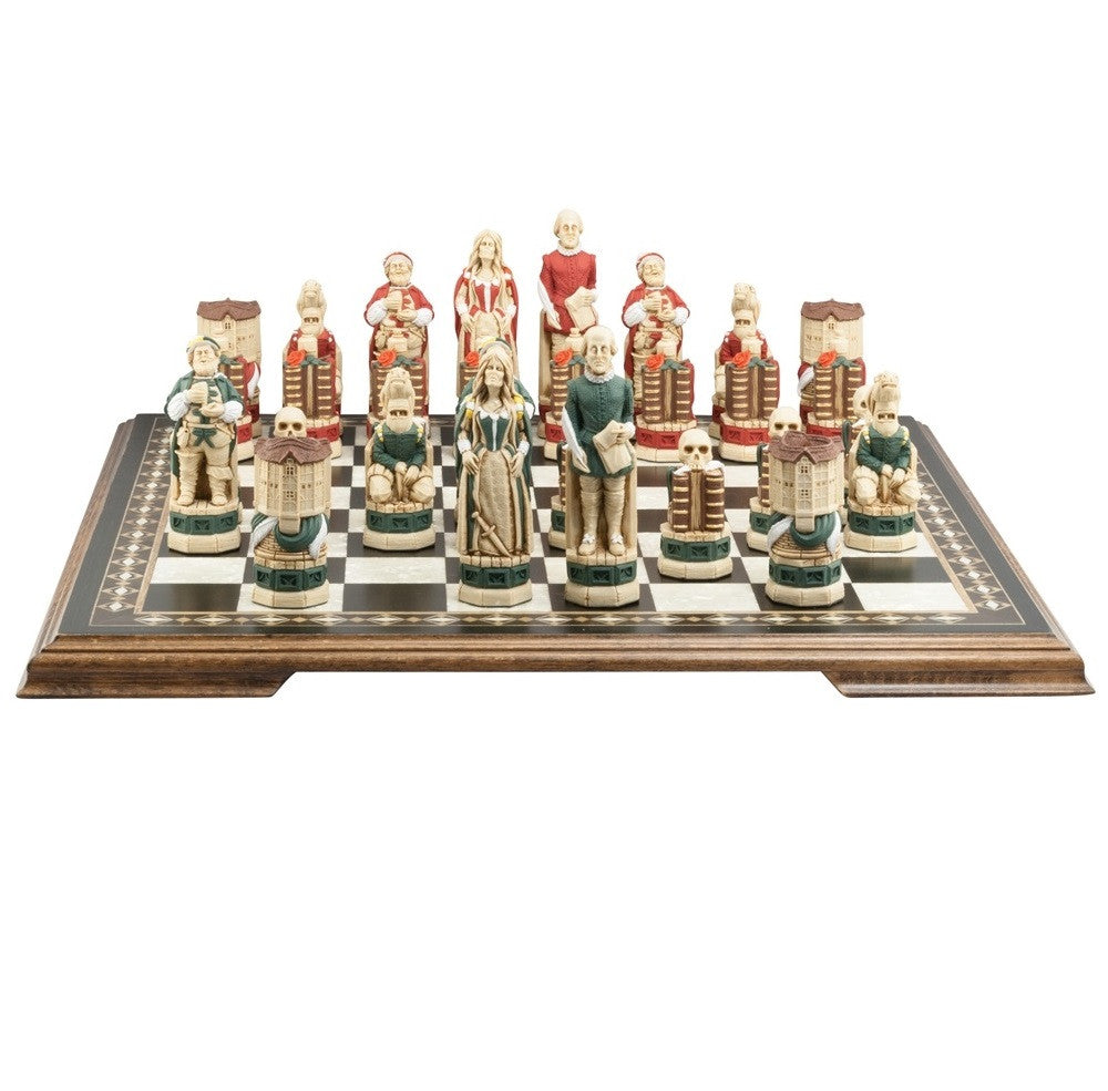 Studio Anne Carlton 'Shakespeare & The Globe' Hand Painted Chess Pieces (Playing Pieces Only)