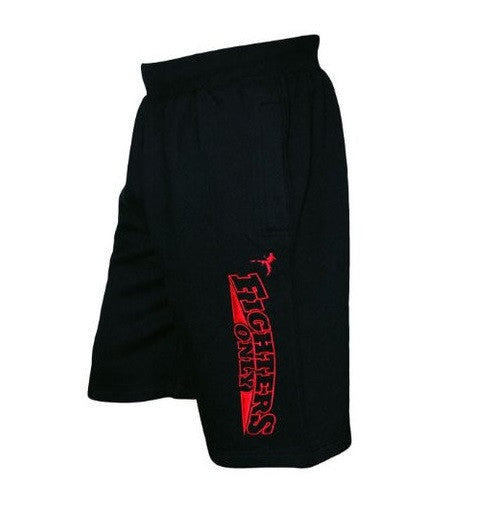 Black Fighters Only Men's MMA Shorts UK White