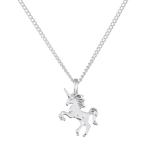 Magical Unicorn Pendant Necklace Silver