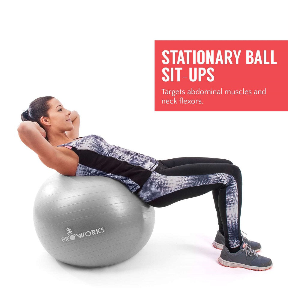 Proworks Anti-Burst Exercise Ball 55cm with Pump (Silver) Sit Ups