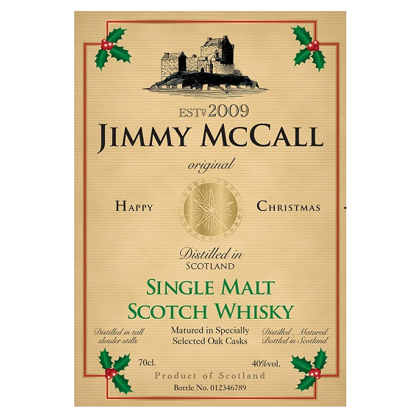 Personalised Christmas Labels for Single Malt Whisky (Pack of 2)