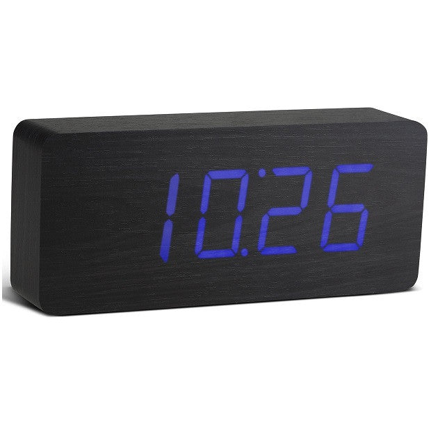 Gingko Slab Click Clock Black / Blue LED