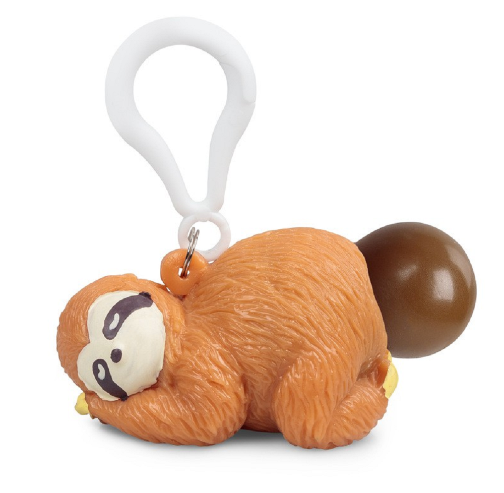 Novelty Squeeze Poo Sloth Keyring | Stress Animal Squeeze