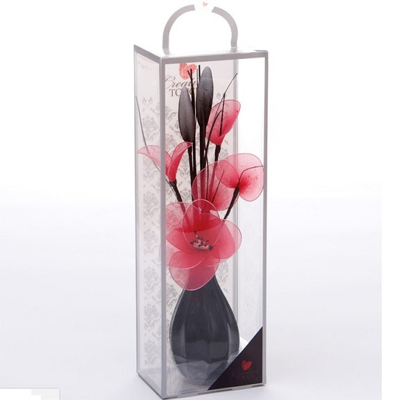 Cerise Mesh Net Flower Arrangement in Bud Vase