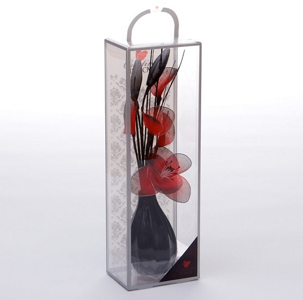 Red Mesh Net Flower Arrangement in Bud Vase