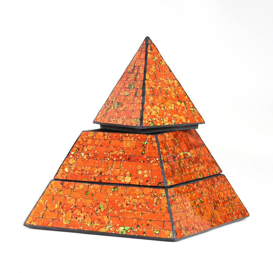 Orange Mosaic Pyramid Jewellery Keepsake Box