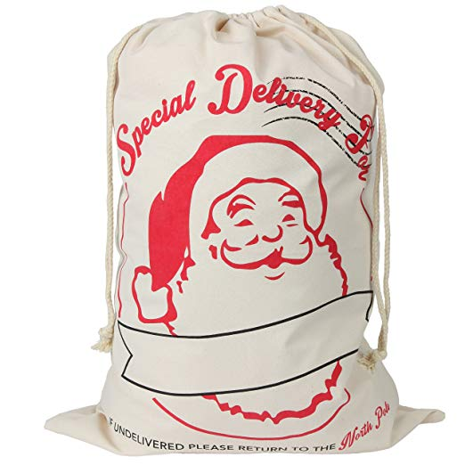 Special Delivery Christmas Santa Cotton Sack