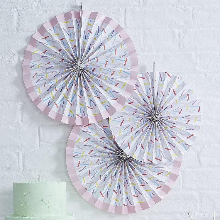 Sprinkles Hanging Paper Pinwheel Fan Decorations x 3