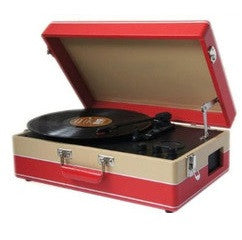 Steepletone SRP05TT Stand Alone 3 Speed Record Player with MW-FM Radio - Red/Beige