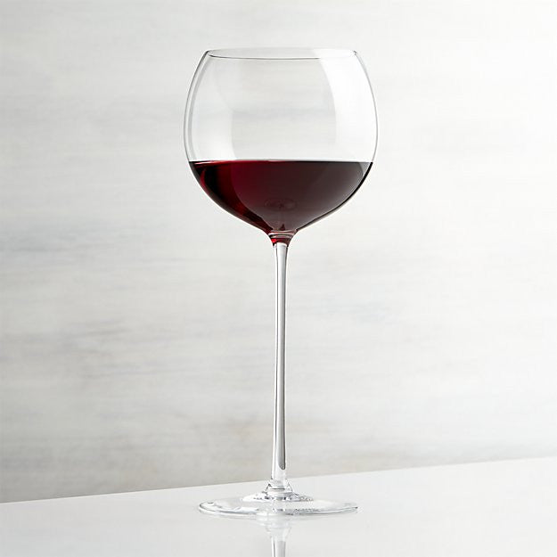 Single Long Stemmed Wine Glass with wine