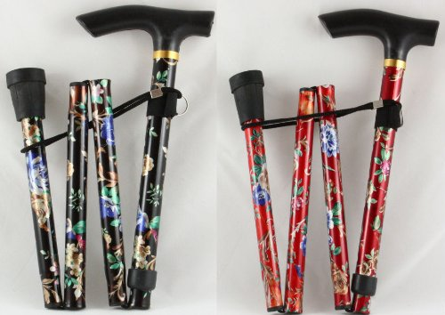 Adjustable Folding Floral Walking Stick