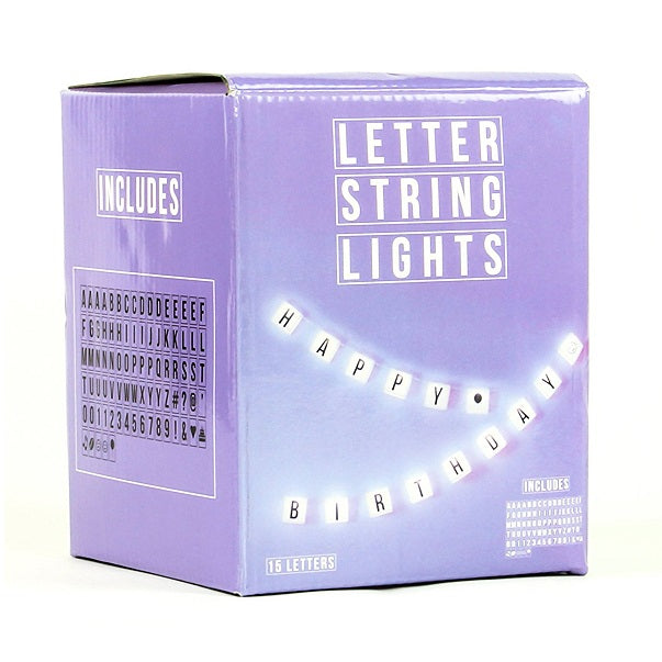 alphabet string lights in a box
