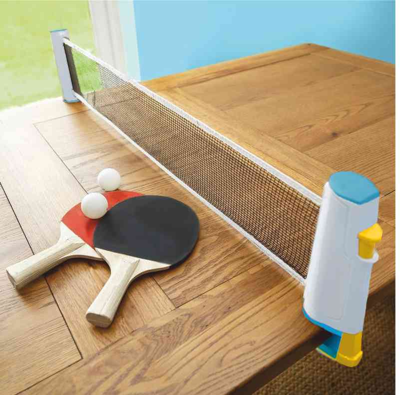 Instant Table Tennis stretched across a table with our rollnet