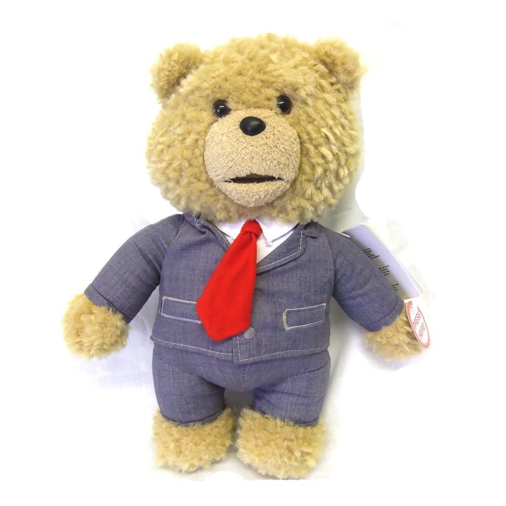 "Ted 18"" Talking Plush Soft Toy Bear - Grey Suit"