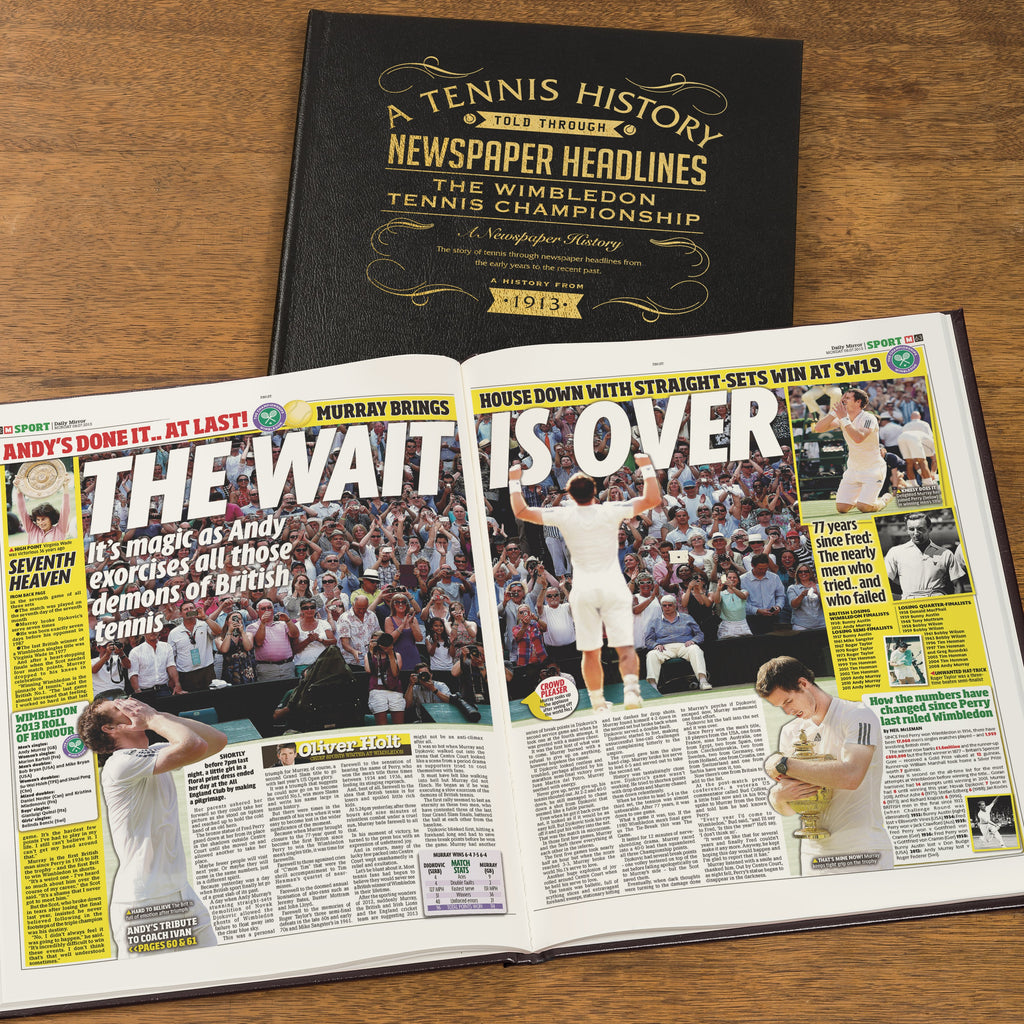 Personalised Wimbledon Tennis Newspaper Book - Black Leather Cover