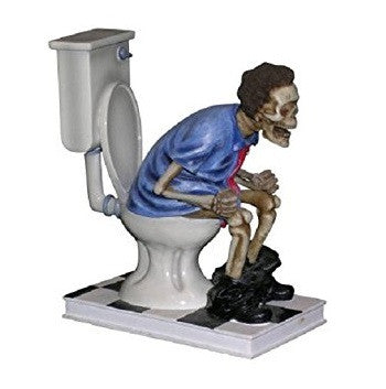 'S**t Too Long' Skeleton Figure On Toilet