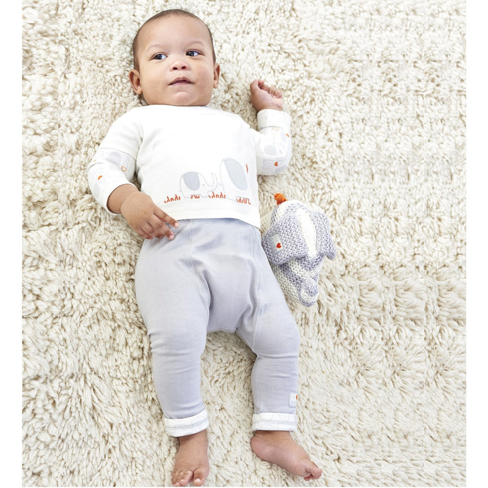 Natures Purest 'My First Friend' Boy's Embroidered Elephant Baby Clothes Top & Skinny Trousers