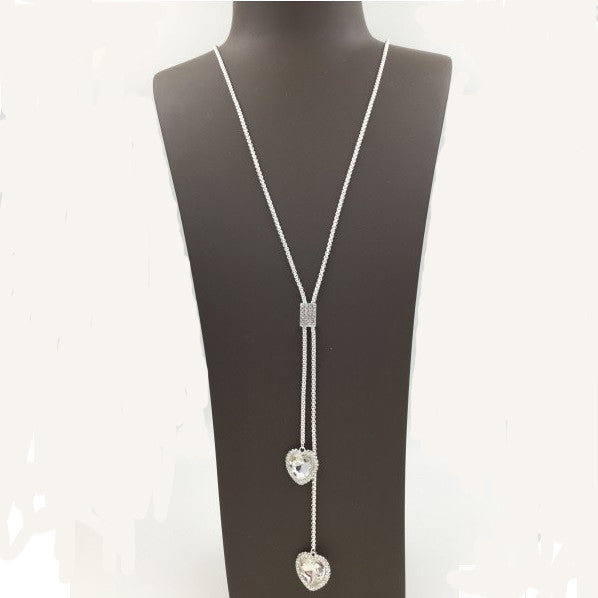 Silver Twin Gem Heart Long Necklace