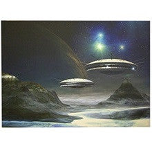 Steepletone Flying Saucer in Space LED Picture