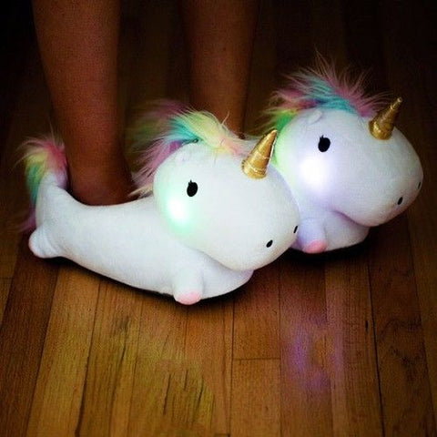 White LED Unicorn Adult Slippers