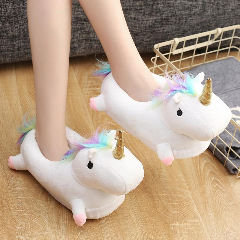 White Rainbow LED Unicorn Adult Slippers