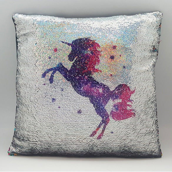 Unicorn Magical Sequin Cushion 16""
