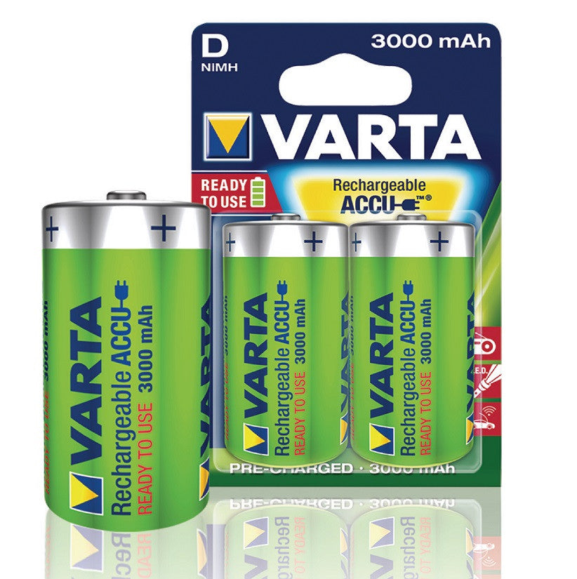 Varta Rechargable NiMH D 1.2 V 3000 mAh Battery (2 Blister)