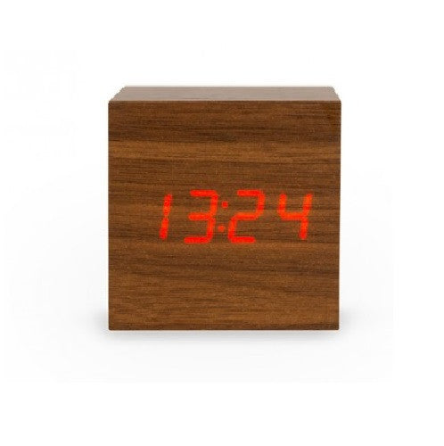 Walnut Wood Effect Interactive Single Display Cube Clock Red LED