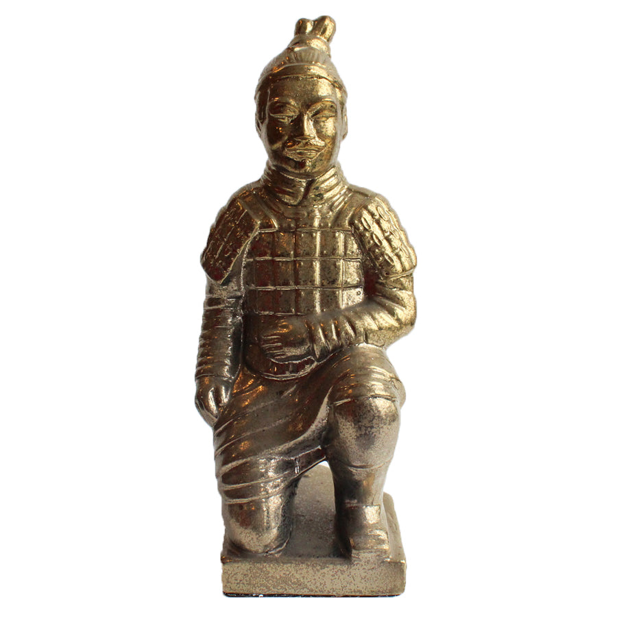 Kneeling Chinese Warrior Sculpture - Tarnished Gold Effect