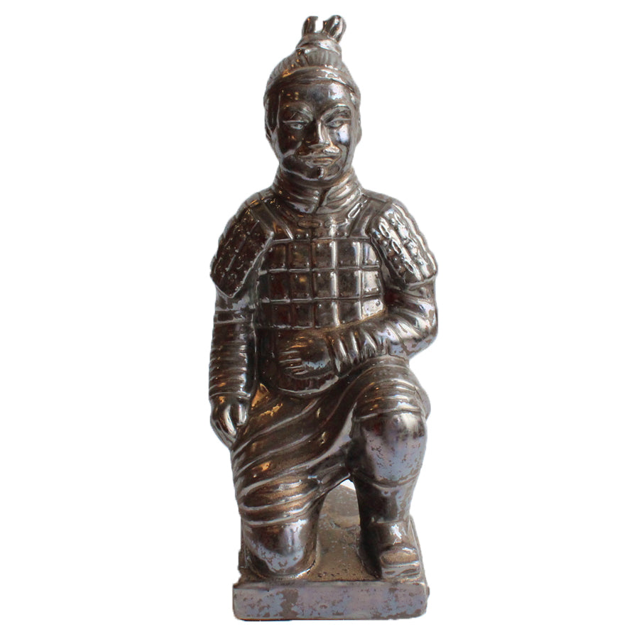 Kneeling Chinese Warrior Sculpture - Pewter Effect