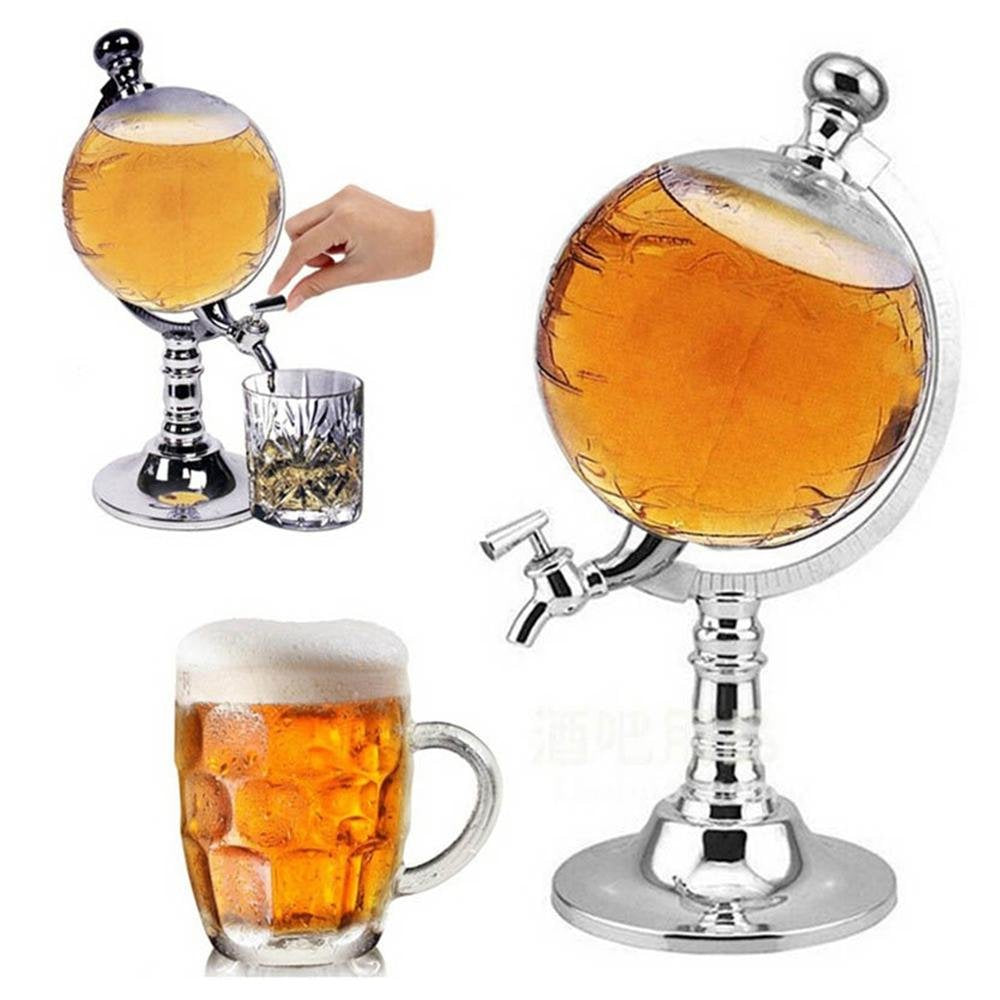 Globe Dispenser Crystal Liquor Whiskey Beer Beverage Alcohol Dispenser Pouring Machine,Whiskey Decanter (3500ML)