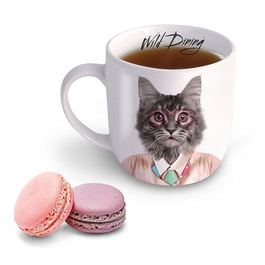 Wild Dining Courtney Cat Ceramic Mug by Mustard with Treats