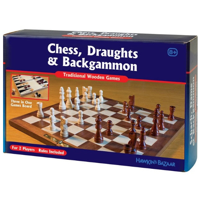 Draughts, Chess and Backgammon Set - 3 in 1 Wooden Games Set