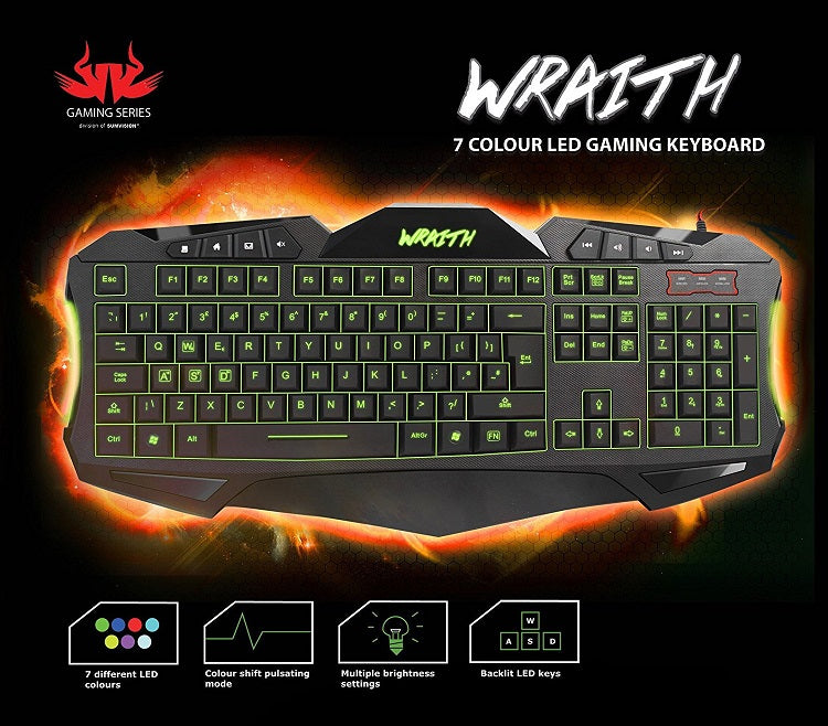 Nemesis Wraith 7 Colour LED Gaming Keyboard